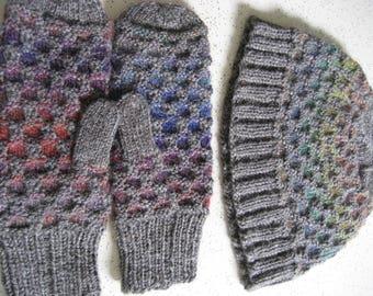 Honeycomb Stitch Hat and Mitten Set