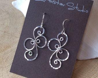 Fancy Spiral Sterling Silver Earrings, Argentium Silver
