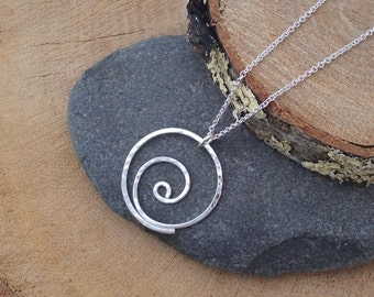 Silver Spiral Necklace, Argentium Sterling Silver Pendant