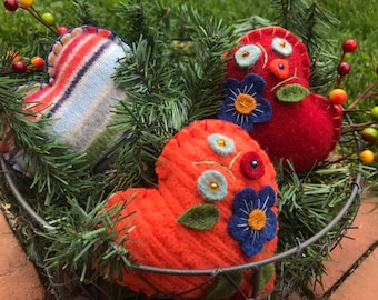 Upcycled felted wool floral heart ornies