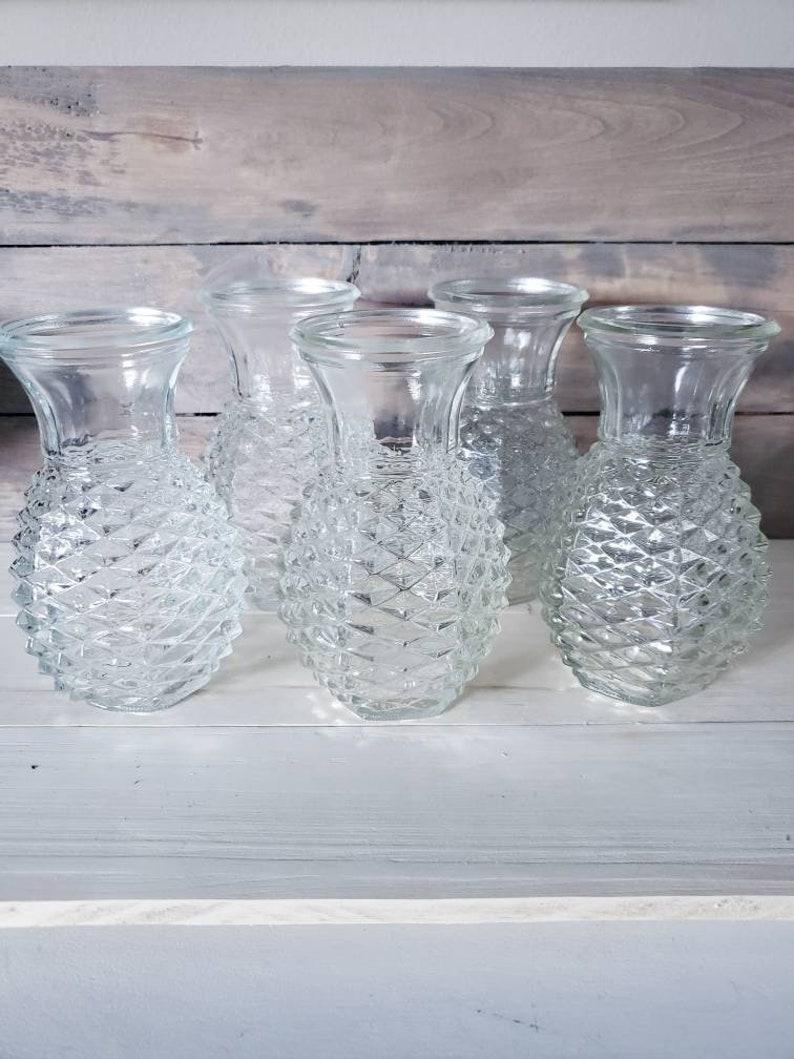 Vintage Pineapple Vase Set Of 5 Wedding Vases Vintage Vases FTD  Pineapple Decor Flower Vases Vintage Home Decor Cottage Decor Wedding Decor