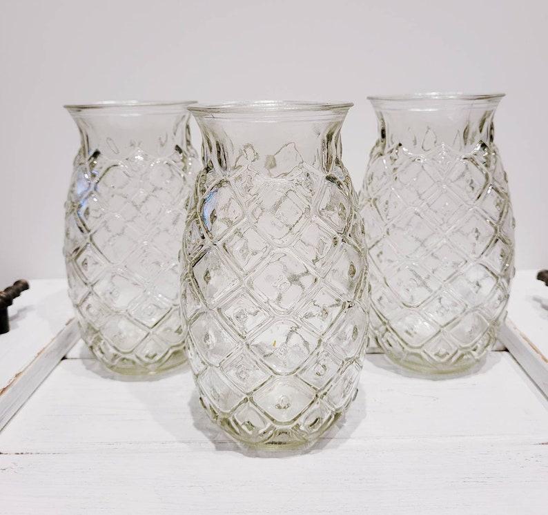 Vintage Pineapple Vase Set Of 3 Wedding Vases  Pineapple Decor Flower Vases Vintage Home Decor Tropical Drink Pineapple Glasses
