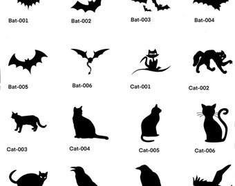 Halloween-1, bats, cats and crows-svg, eps, png, dxf, jpg