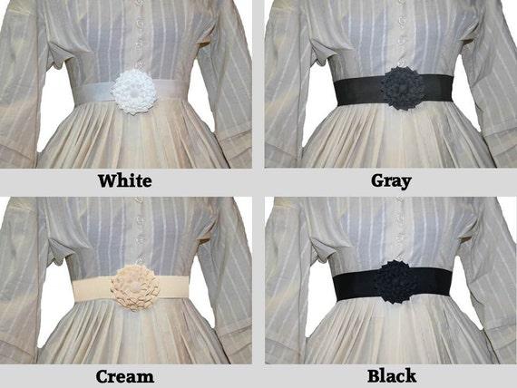 Victorian Hand Fan, Gloves, Belt Accessories Shades of Neutral - Petersham Rosette Belt $25.00 AT vintagedancer.com