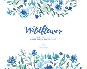 Watercolor Floral Clip Art - Wildflower - Blue, Mint, Navy, Teal