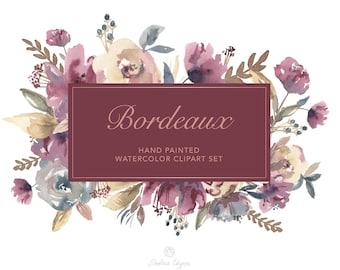 Watercolor Floral Clip Art - Bordeaux - Burgundy, Navy, Cream | Wedding Clipart | Marsala