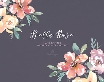 Watercolor Floral Clip Art - Bella Rose - Elegant Wedding Clipart | Perfect for Wedding Invitations | Coral Lavender Light Yellow Green
