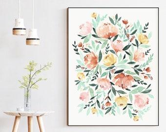 Abigail Blush Mint Copper Watercolor Floral Wall Art Print | 8x10 or 16x20 | Home Decor Wall Art | PRINTED & SHIPPED (not digital)