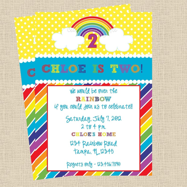 Its A Rainbow Party Birthday Invitations