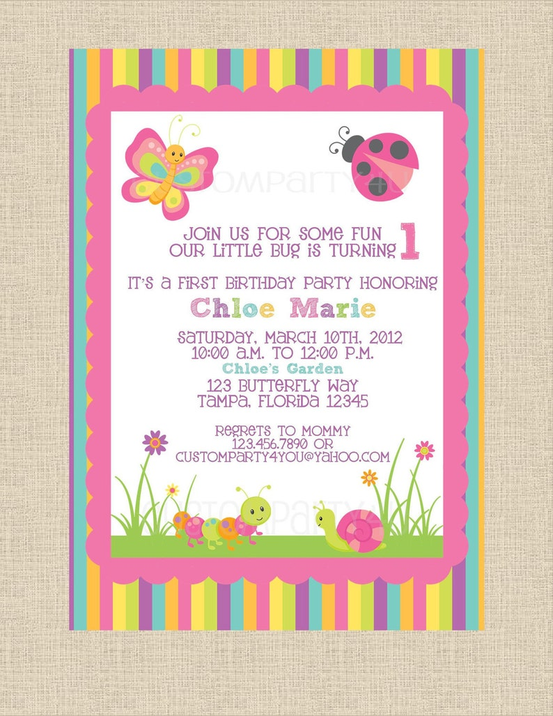 Butterfly Garden Birthday Invitation Perfect For Spring And