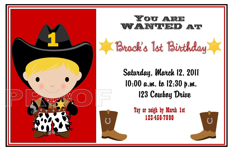 Wanted Cowboy Birthday Party Invitations | Etsy