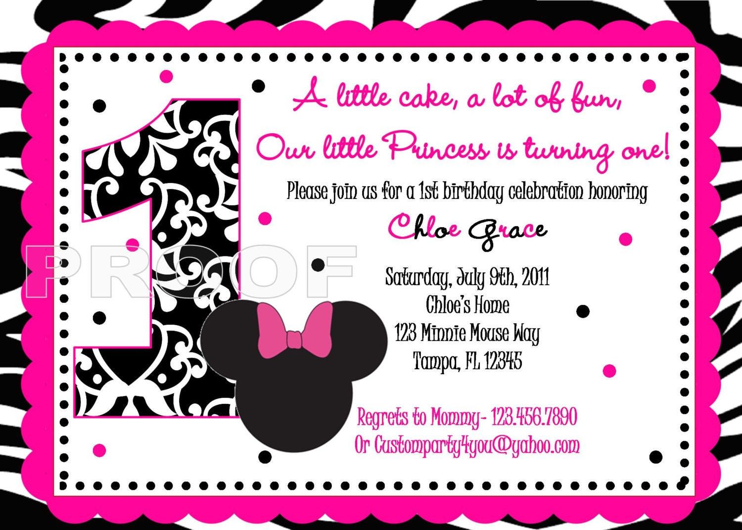 Pink and Black Zebra Minnie Mouse Inspired Custom Birthday | Etsy