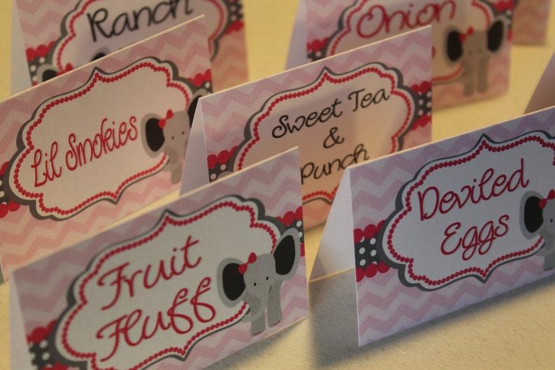 Elephant Food Tent Cards