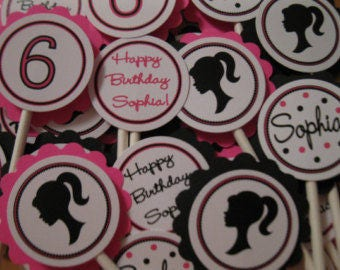 Silhouette Girl Cupcake Toppers