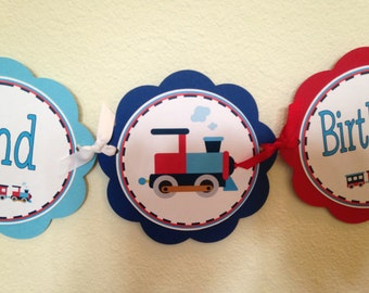 Red White and Blue Train Word Banner