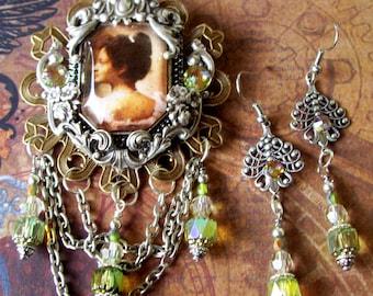 Jewelry Set (S711) Princess Kaiulani Brooch and Earrings, Royal Hawaiian Monarchy, Pin and Crystal Dangles