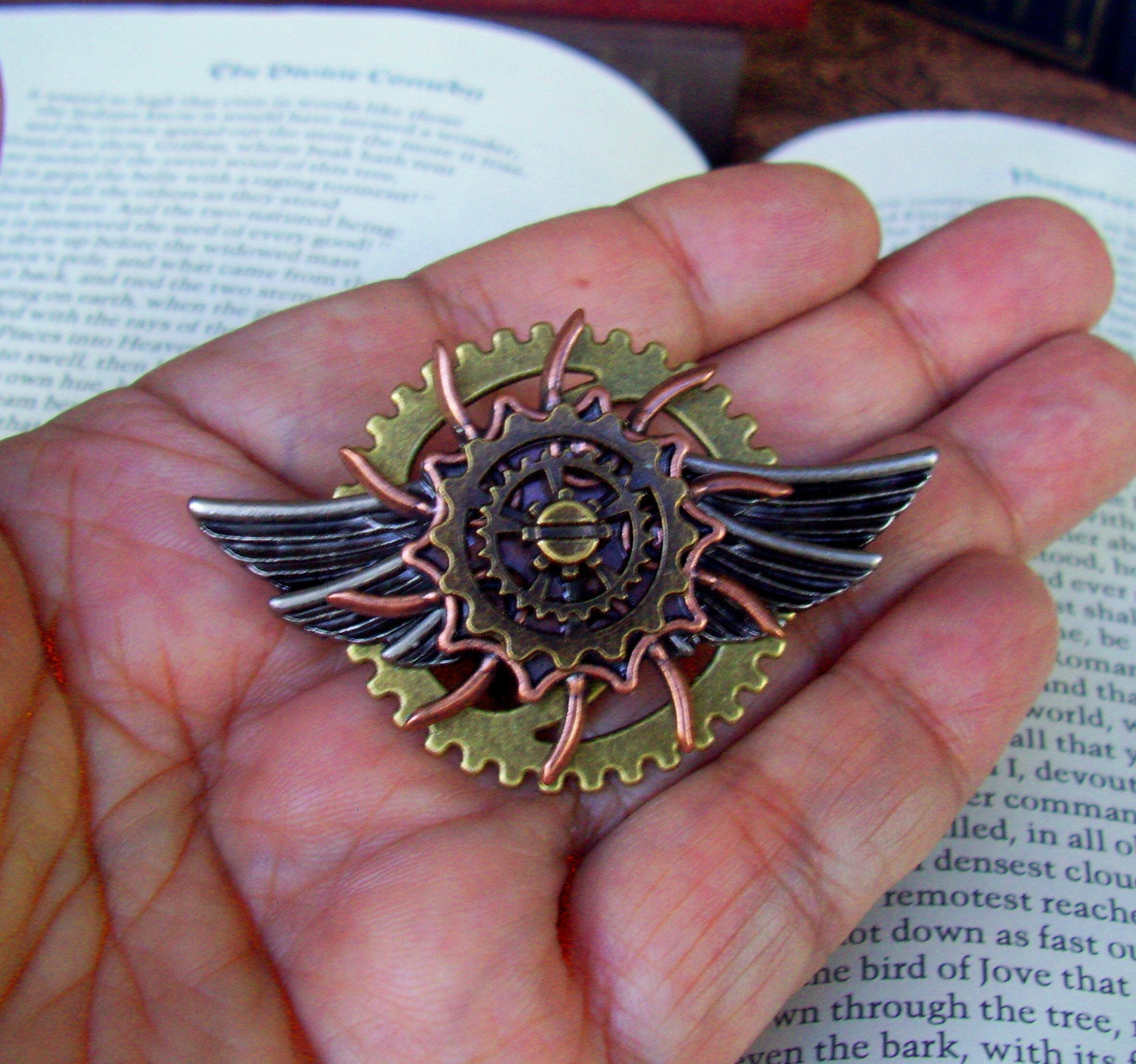 Brass Wings and Clockface Aviation Medal P753 Steampunk Aviator Pin BEST SELLER Tie Tack Backing Propeller and Gears