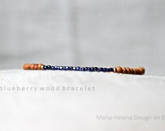 blueberry wood mens small bead bracelet - mens small wooden beads with blue bracleet - Maria Helena Design