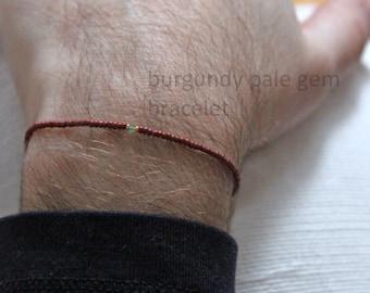 burgundy pale gem bracelet for men - a very small bead bracelet, made to measure by Maria-Helena Design