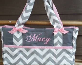 Custom Baby Diaper bag-Chevron fabric  6 pocket bag  with name embroidered  personalized monogrammed-washable-zig zag Baby bags polka dot 365f9406a4d77