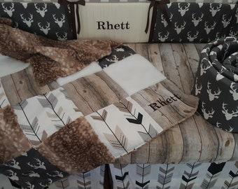 Baby boy crib bedding Woodland woodgrain barn wood,deer hide fawn faux fur, arrows,stag buck head, personalized,crib nursery set
