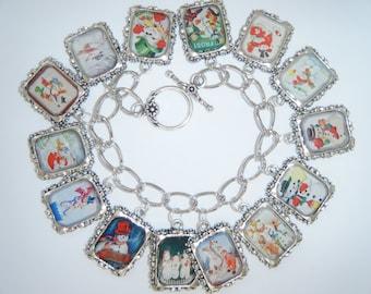 Snowman/Winter Charm Bracelet Altered Art