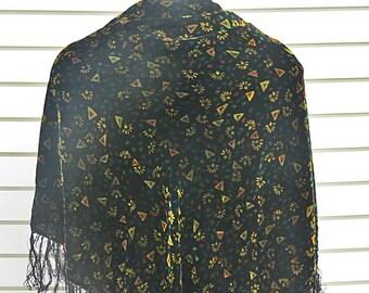 Vintage Large Square  Silk Velvet Shawl  #608