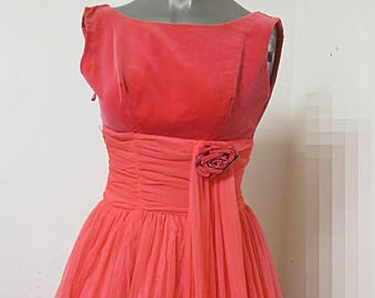 1950's Chiffon  Pink Rose  Party Prom  Evening Dress  #322