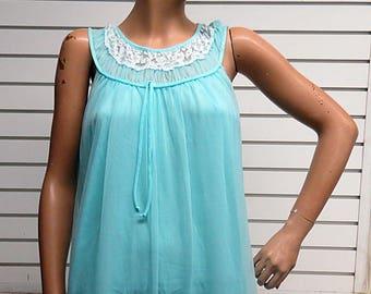 Blue Nylon Chiffon Vintage Nightgown   #399