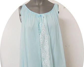 Vintage Blue Nylon Chiffon  Nightgown Miss Elaine #123