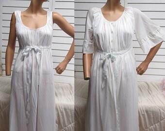 White Nylon Chiffon Vintage  Peignior Set Nightgown Robe Rogers   M #422