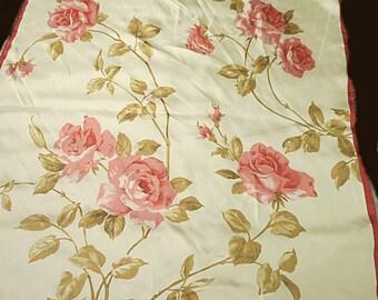 "Vintage Pink Floral  Scarf Twill Banana Republic  28"" X 29""  #220"