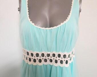 Aqua Nylon Chiffon Long Nightgown large #117