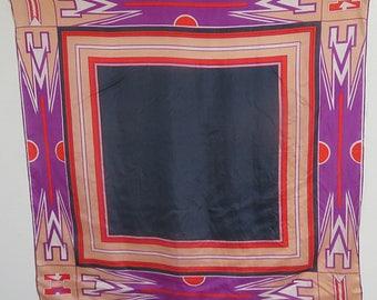"Large Geometric  Silk Scarf 31"" X 32""  #100"