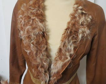 Free Shipping Womans brown leather jacket trimmed with curly Lamb Medium  #122