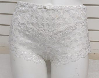 White LaceBoy Cut  Panties Large P46