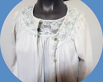 Nylon  Blue Pegnior Set Nightgown Robe  M #291