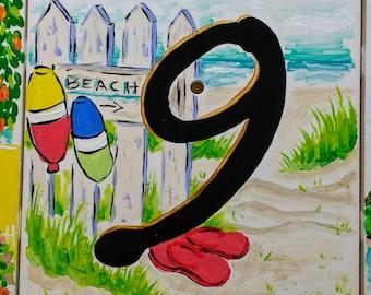 Beachy tiles numbers 1-9 address numbers
