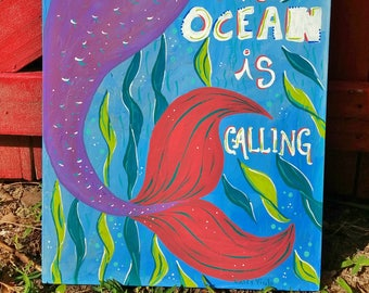 The Ocean is Calling painting on wood