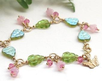 Monarch Butterfly Milkweed Plant Flower Bracelet Jewelry Gift for Gardener, Pink Rose Flower Charm Beaded Summer Accessory, 14kt Gold Filled