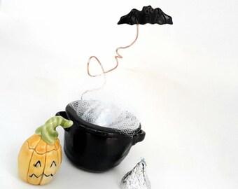 Pottery Witch Cauldron Tea Light Set, Miniature Candle Holder, Ceramic Halloween Pumpkin Ornament, Mini Bat, Fairy Garden Autumn Decoration