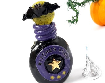 Pottery Witches Brew Bottle, Miniature Potion Vessel, Magic Spell, Wizard Warlock, Ceramic Halloween Bat Ornament, Decoration, USA Handmade