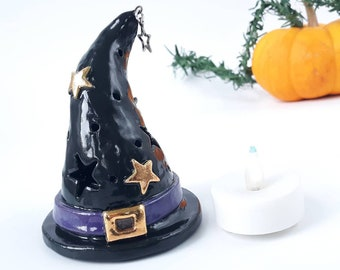 Pottery Witch Hat Tea Light Set, Miniature Candle Holder, Ceramic Halloween Wizard Ornament, Warlock Party Decor, Hostess Gift, Decoration