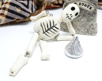 Ceramic Skeleton Halloween Gravestone Set, Pottery Graveyard Bones Decor, Spooky Decoration, Ghoul Ghost Lover Gift, USA Artisan Handmade