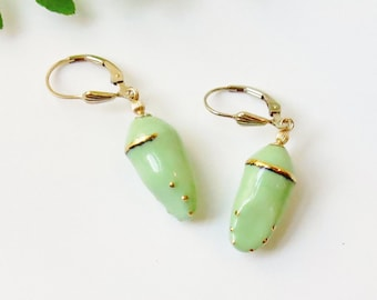 Porcelain Chrysalis Earrings, Monarch Butterfly Earrings, Cocoon Butterfly Lover Gift, Cancer Survivor Metamorphosis Butterfly Theme Jewelry