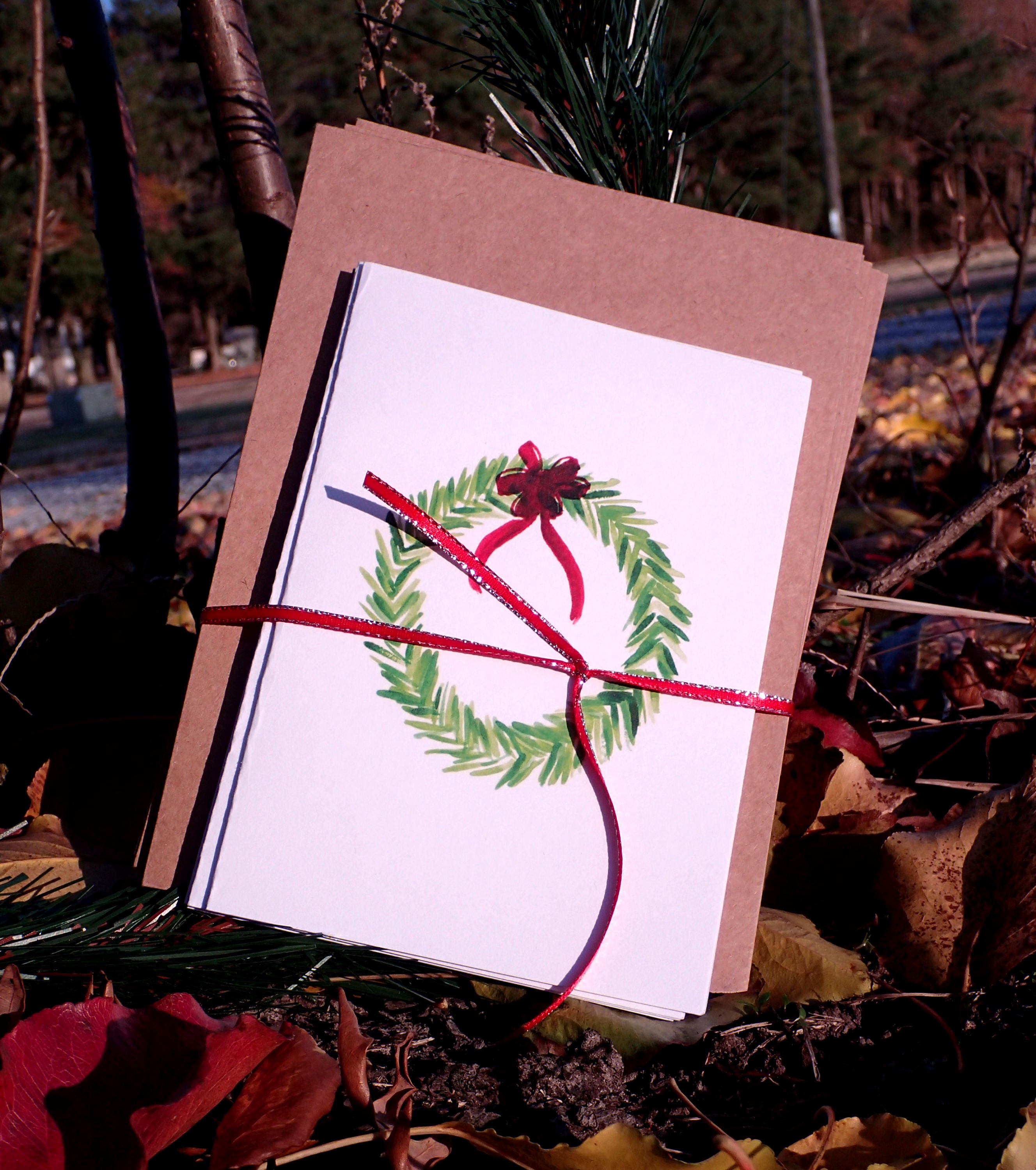 Holiday Card, Wreath Card, Watercolor Card, Hand painted Card ...