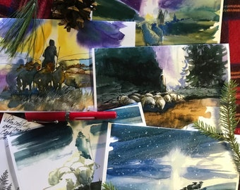 5 original watercolor print cards , 51/2 x81/2 with white envelopes