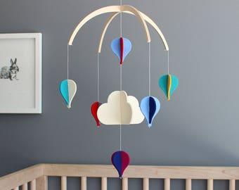Baby Crib Mobile, Minimal Mobile for Baby, Baby Shower Gift, Kids Room Decor, Unique Baby Gift, Clouds Mobile, Modern Mobile for Nursery