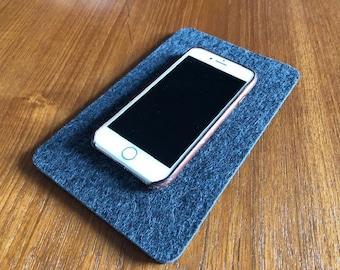Wool Felt Pad, 5x8-in, Phone Pad, iPhone Pad, Smartphone Mat, Cell Phone Landing Pad, Felt Trivet, Valet Mat, Phone Tray, Table Protector