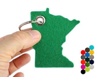 Wool Felt Minnesota Key Fob, Minnesota Keychain, Minnesota Key Chain, MN Gift, Groomsman Gift, Minnesota Gifts, Gift from Minnesota Key Ring